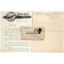 Pacific Coast Borax Co. Letter & Cover - Belleville, NV