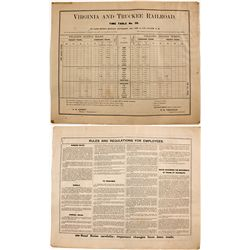 Virginia & Truckee Railroad Timetable Sheet - Carson City, NV
