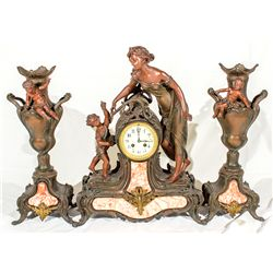 "French Mantle Clock ""Lady with Cherubs"" & Match Vases -"