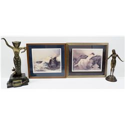 Bronze Egytian Godess & Framed Nudes Group -