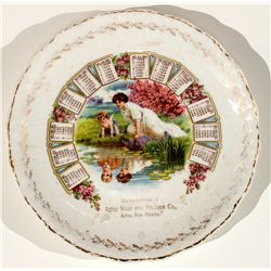 Aztec Meat and produce Co. Calendar Plate - Aztec, NM