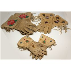 Beaded Leather Indian Gloves -