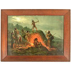 Native American Lithograph Print -
