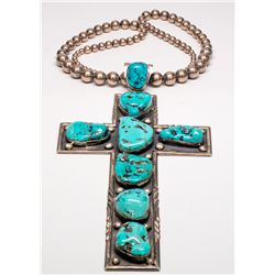Silver/Turquoise Cross Necklace -