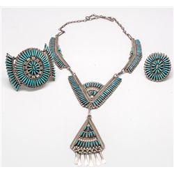 Zuni Turquoise Needlepoint Jewelry Set -