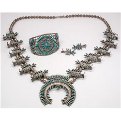Zuni Squash Blossom Necklace, Earrings and Bracelet Set -  NM