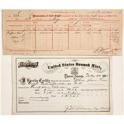 Denver Mint Assay Forms Pair - Denver, CO