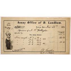 Lundbom, David Assay Office Receipt - Austin, NV