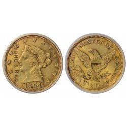 1854 Quarter Eagle Gold Coin - Counterstruck - Syracuse, NY