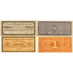Two California Clearing House Certificates -
