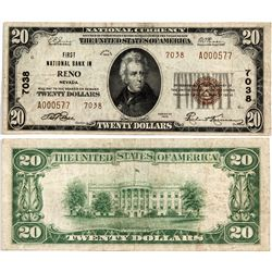 Reno Type 2 $20 Bank Note - Reno, NV