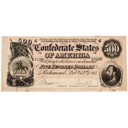 Confederate States $500 Bill - Richmond, VA