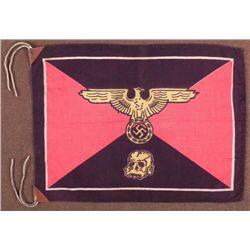 NAZI SS HEADQUARTERS FLAG W/SWASTIKA & SKULL REPRO