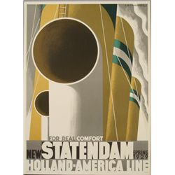 Adolphe Mouron Cassandre: Statendam Cruise Ship Poster