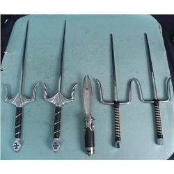4 COMBAT SKEWERS AND A THROWING BLADE WITH HANDLE