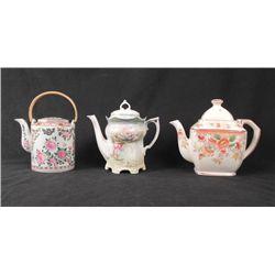 3 Vintage Tea Pots Japan/Germany Transfer