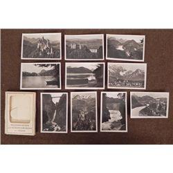 10 PRE-WWII GEMAN FOLDER PHOTOS OF CASTLES & ALPS