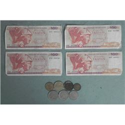 Lot Old European Currency & Coins France, Greece, Spain