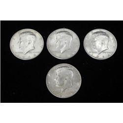 4 Kennedy Silver Half Dollars 1964, 1964-D, 1968