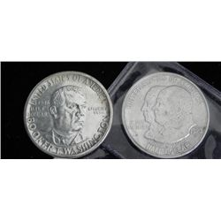 2 Commorative Half Dollars 1923, 46 Monroe, Booker T