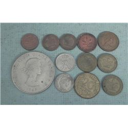 Lot 12 Old European Coins Germany,France,Belgium 1949-