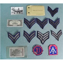 U.S. WWII PATCH, CURRENCY & PHOTO COLLECTION-14 PCS