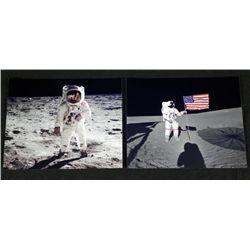 2 Photos Man on Moon Walk Apollo Aldrin, Shepard