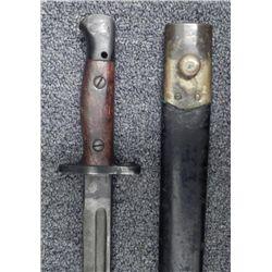 BRITISH M1907 BAYONET WITH LEATHER & BRASS SCABBARD