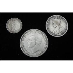 3 Old Australian Silver Coins Shilling,Florin,3 P 1916-