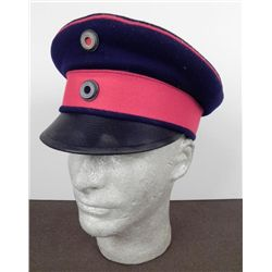 GERMAN IMPERIAL ARMY WWI VISOR-DARK BLUE W/RED PIPING