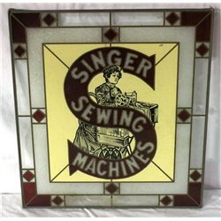 Singer Sewing Machine Advertising Stained Glass