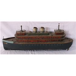 Libertania Ocean Liner Wood & Tin Model