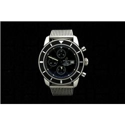 WATCH: Mens st.steel Breitling SuperOcean Heritage chronograph wristwatch; black dial w/ black sub-d