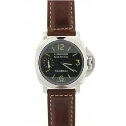 WATCH: Mens st.steel Panerai Luminor Marina wristwatch; 43.5mm cushion case; black dial w/ lumin Ara