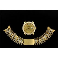 ROLEX: Mens 18ky Rolex O.P. Datejust wristwatch w/ aftmkt diamond apptmnts & bracelet; beveled edge