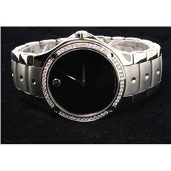WATCH: Mens st.steel Movado SE diamond wristwatch; 40mm round case; black museum dial; bezel w/ 52 r