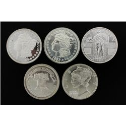 SILVER ROUNDS & SILVER EAGLE COINS:  [1,093] Assorted 1 troy ounce, .999 silver rounds; and[380] Ass