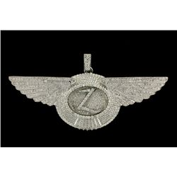 PENDANT:  [1] 10KWG wing pendant with the initial 'Z' is set with rd dia.s, TWA 24.0 cts, G-I, SI1-S