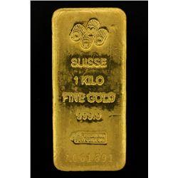 BULLION: PAMP Suisse 1 Kilo fine gold bar; 999.9 Au; Essayeur Fondeur; Serial A061691; 998.4 grams.