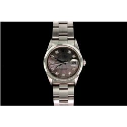 WATCH: [1] Stainless steel Rolex Oyster Perpetual Date mid-size watch with aftermarket mother-of-pea