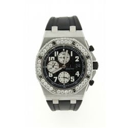 WATCH: Mens st.steel Audemars Piquet Royal Oak OffShore chronograph wristwatch w/ aftmkt diamond bez
