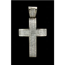 PENDANT:  [1]  14KWG J. Rodeo cross pendant set with 171 princess cut dia.s, TWA 11.97 cts., H/I, VS