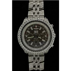 WATCH: Mens st.steel Breitling Bentley 6.75 chronograph wristwatch w/ aftmkt diamond apptmnts; 43.6m