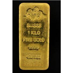 BULLION: PAMP Suisse 1 Kilo fine gold bar; 999.9 Au; Essayeur Fondeur; Serial A061693; 998.3 grams.