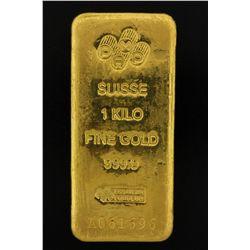 BULLION: PAMP Suisse 1 Kilo fine gold bar; 999.9 Au; Essayeur Fondeur; Serial A061696; 998.6 grams.