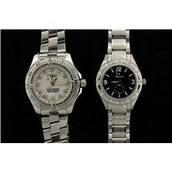 WATCH: Ladys st.steel Breitling ColtOceane II wristwatch w/ aftmkt cubic zirconia apptmnts; white MO