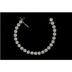 BRACELET: Ladys 14kw diamond cluster link bracelet; 175 rb dias, 2.0mm (150) & 2.4mm (25) = est 5.75
