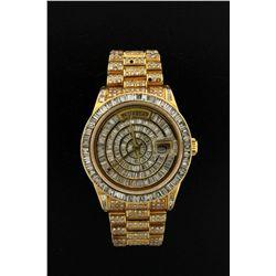 ROLEX: Mens 18ky Rolex O.P. Day Date wristwatch w/ aftmkt diamond apptmnts; 18ky bezel starburst set