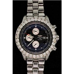 WATCH:  [1] Stainless steel Gts. Breitling Aeromarine Super Avenger Chronograph watch with blue dial