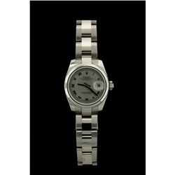 ROLEX: Ladys st.steel Rolex O.P. Datejust wristwatch; 27mm case; rhodium dial w/ silver Romans; dome